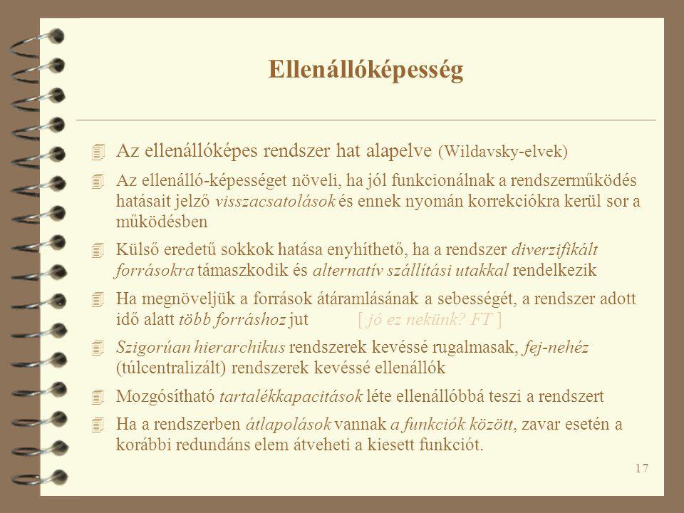 Ellenállóképesség Az ellenállóképes rendszer hat alapelve (Wildavsky-elvek)