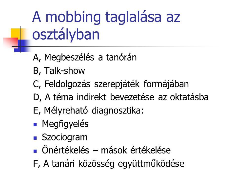 A mobbing taglalása az osztályban