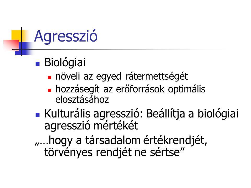 Agresszió Biológiai. növeli az egyed rátermettségét. hozzásegít az erőforrások optimális elosztásához.