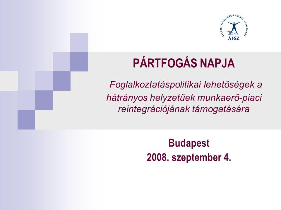 PÁRTFOGÁS NAPJA Foglalkoztatáspolitikai lehetőségek a hátrányos helyzetűek munkaerő-piaci reintegrációjának támogatására