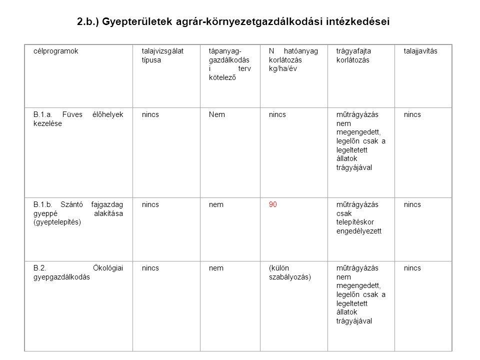 2.b.) Gyepterületek agrár-környezetgazdálkodási intézkedései