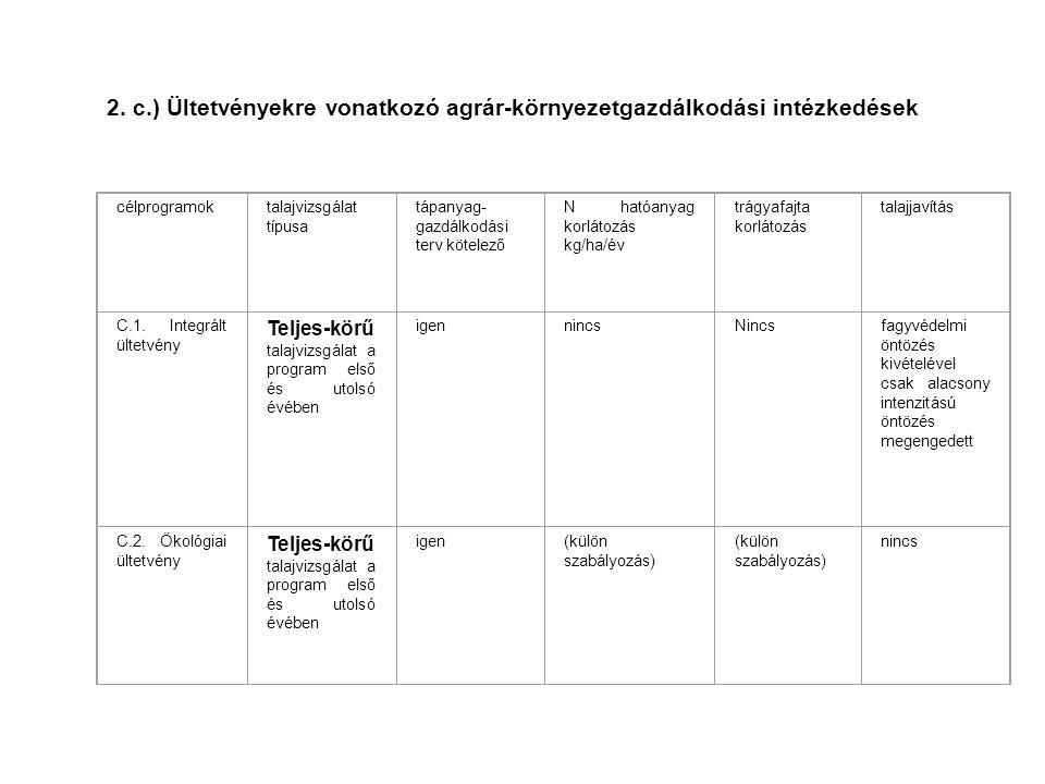 2. c.) Ültetvényekre vonatkozó agrár-környezetgazdálkodási intézkedések