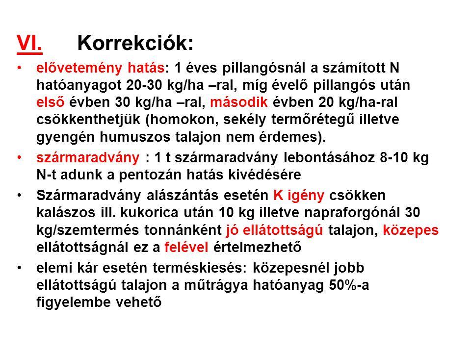VI. Korrekciók:
