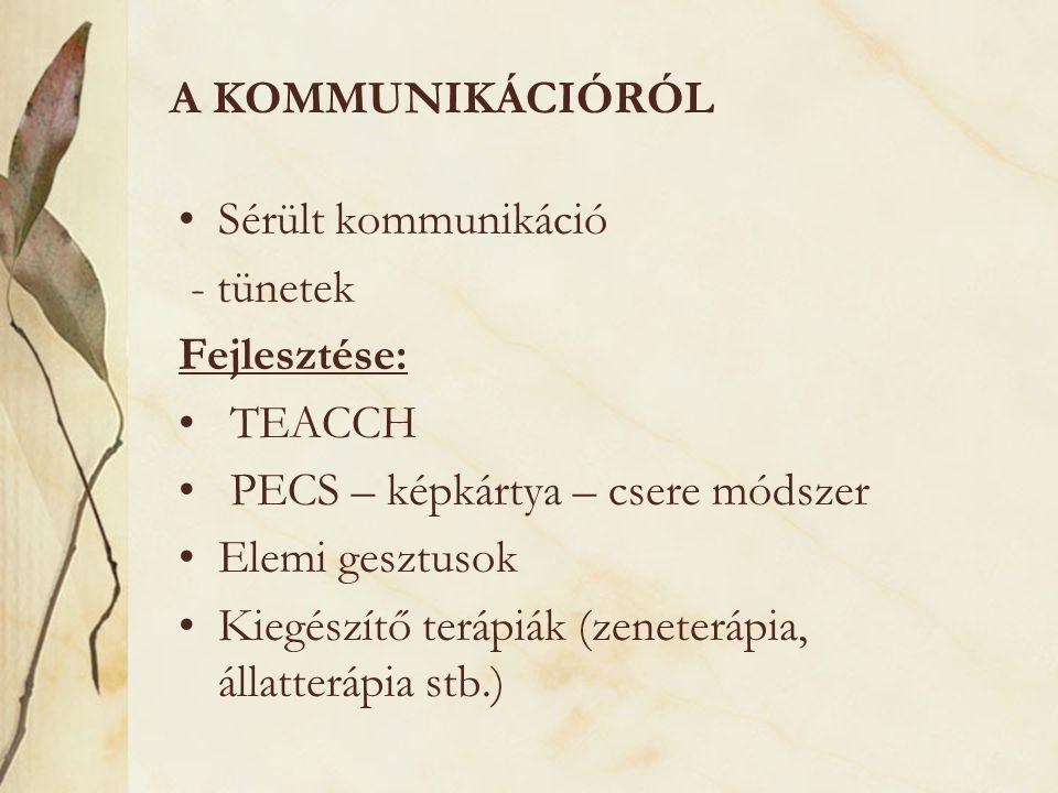 A kommunikációról Sérült kommunikáció. - tünetek. Fejlesztése: TEACCH. PECS – képkártya – csere módszer.