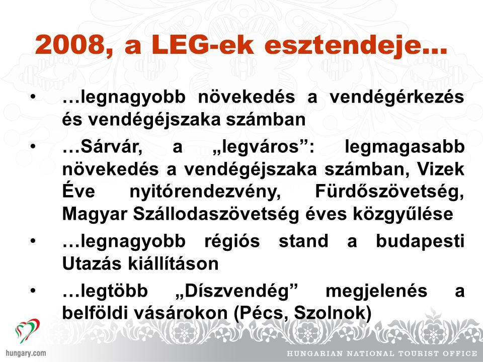 2008, a LEG-ek esztendeje… …legnagyobb növekedés a vendégérkezés és vendégéjszaka számban.