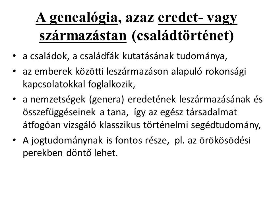A genealógia, azaz eredet- vagy származástan (családtörténet)