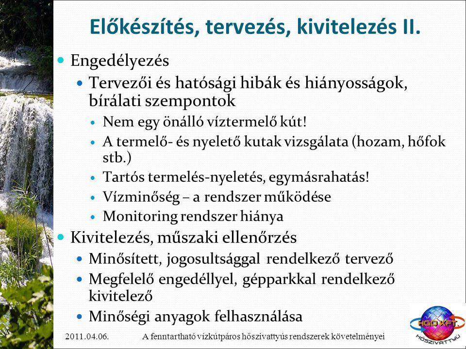 Előkészítés, tervezés, kivitelezés II.