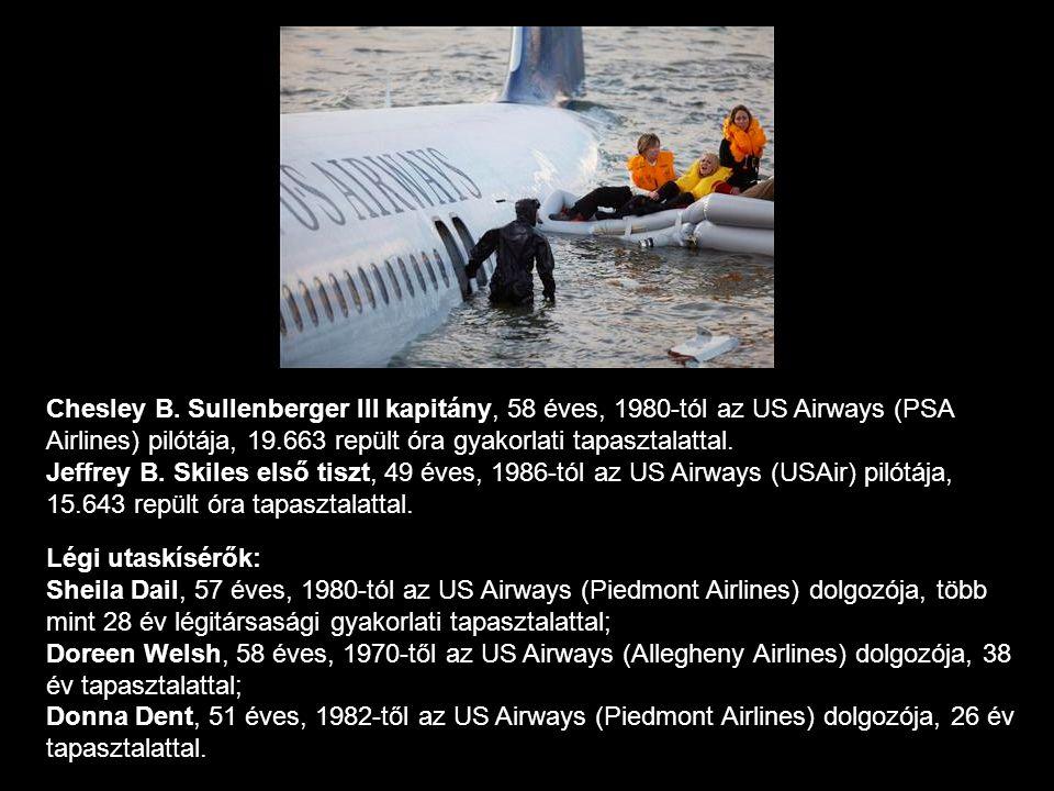 Chesley B. Sullenberger III kapitány, 58 éves, 1980-tól az US Airways (PSA Airlines) pilótája, 19.663 repült óra gyakorlati tapasztalattal. Jeffrey B. Skiles első tiszt, 49 éves, 1986-tól az US Airways (USAir) pilótája, 15.643 repült óra tapasztalattal.