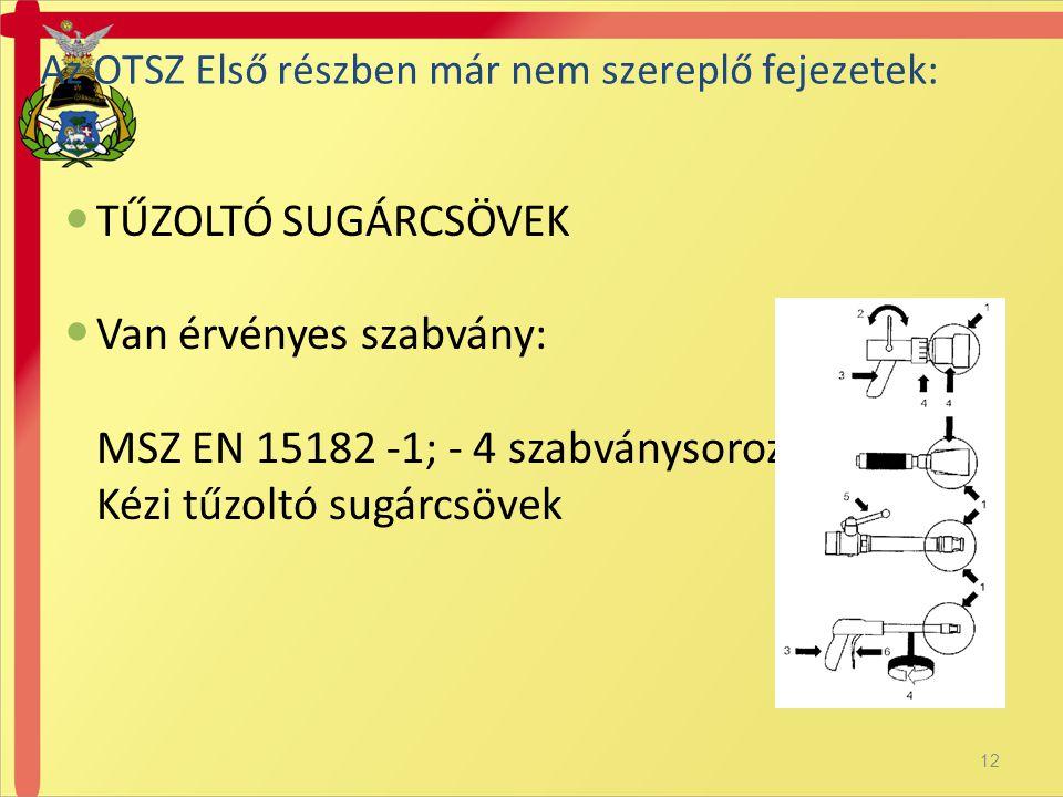Van érvényes szabvány: MSZ EN 15182 -1; - 4 szabványsorozat