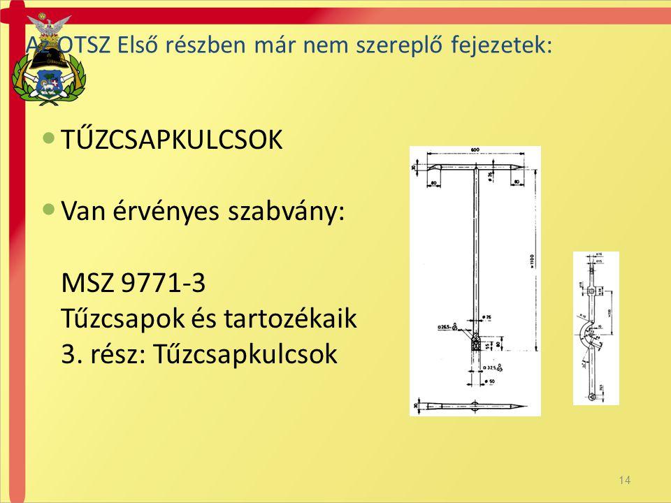Van érvényes szabvány: MSZ 9771-3 Tűzcsapok és tartozékaik