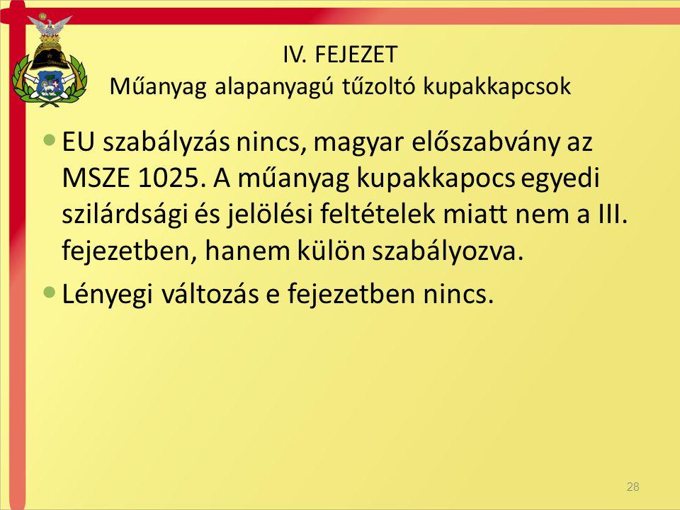 IV. FEJEZET Műanyag alapanyagú tűzoltó kupakkapcsok