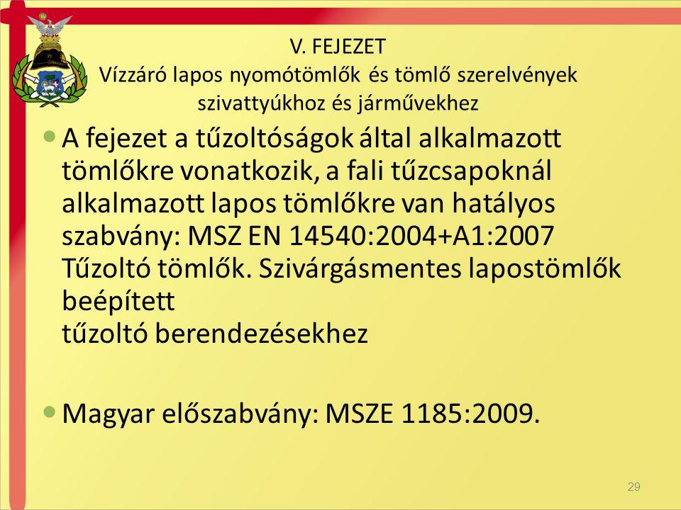 Magyar előszabvány: MSZE 1185:2009.