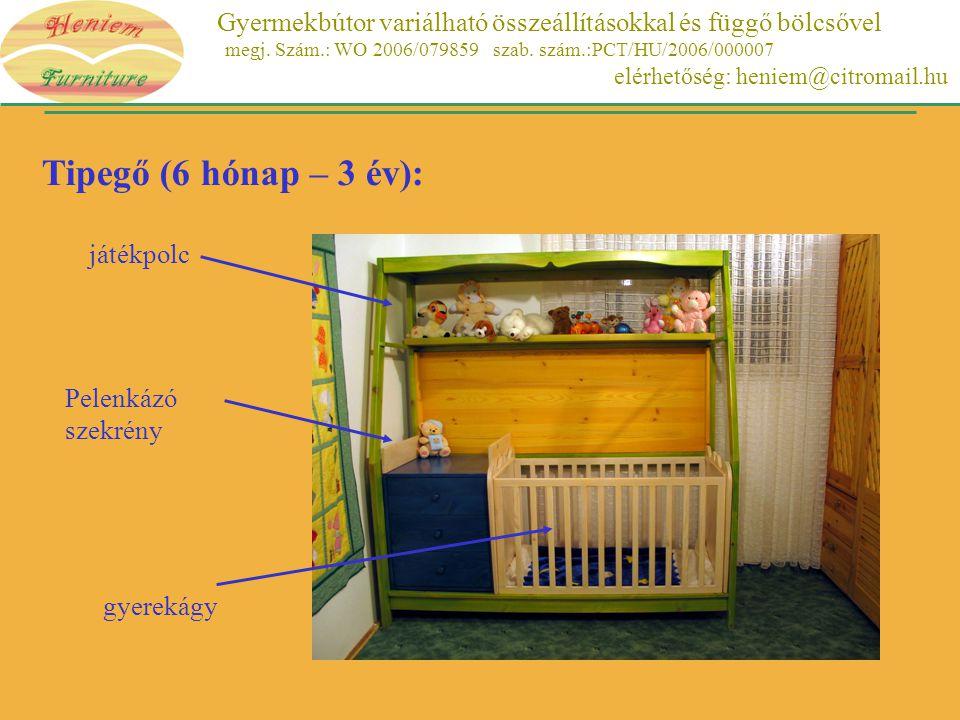 Tipegő (6 hónap – 3 év): játékpolc Pelenkázó szekrény gyerekágy