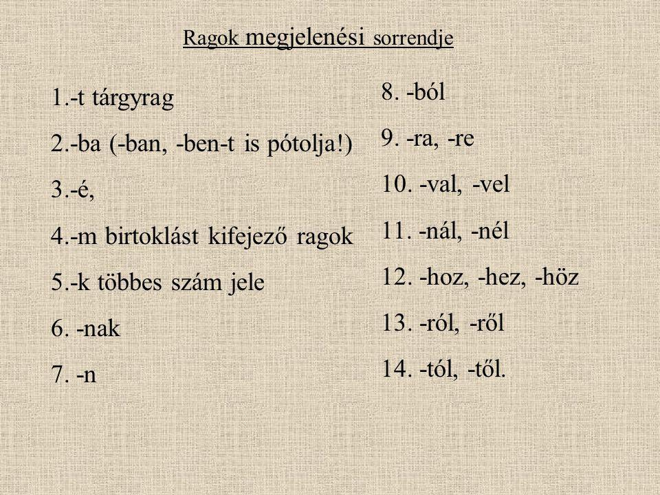 2.-ba (-ban, -ben-t is pótolja!) 3.-é, 4.-m birtoklást kifejező ragok