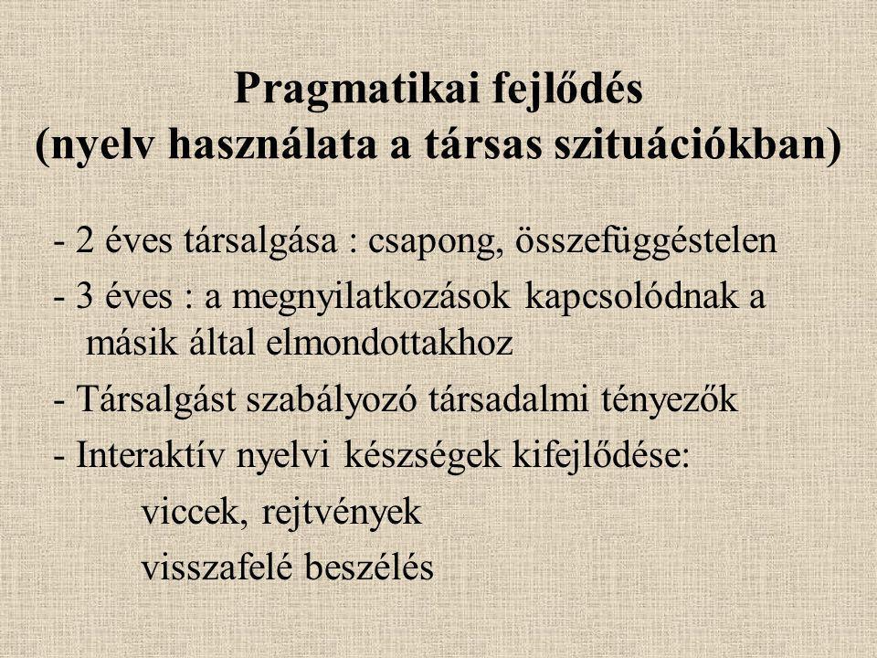 Pragmatikai fejlődés (nyelv használata a társas szituációkban)
