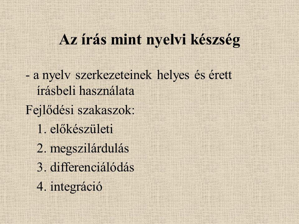 Az írás mint nyelvi készség
