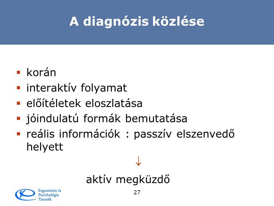 A diagnózis közlése korán interaktív folyamat előítéletek eloszlatása