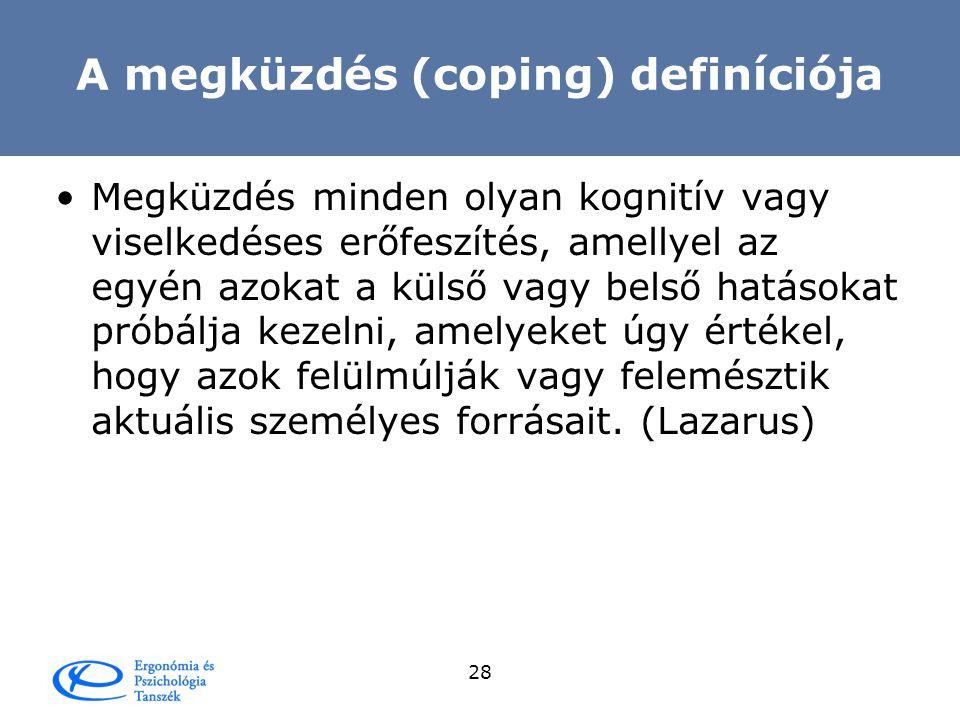 A megküzdés (coping) definíciója