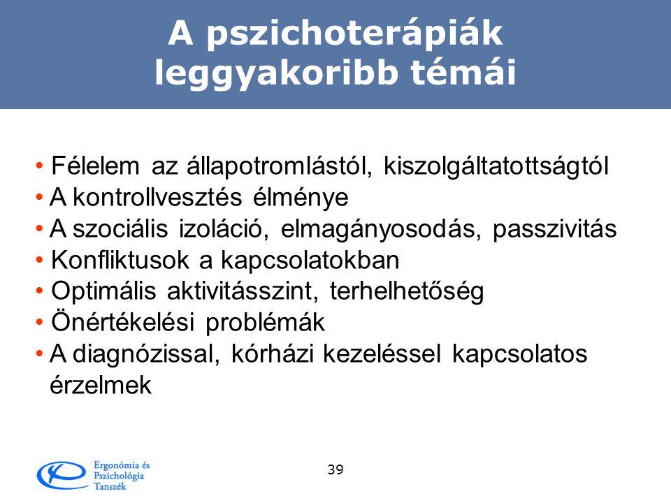A pszichoterápiák leggyakoribb témái