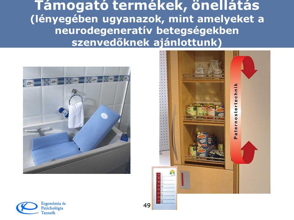 Támogató termékek, önellátás (lényegében ugyanazok, mint amelyeket a neurodegeneratív betegségekben szenvedőknek ajánlottunk)
