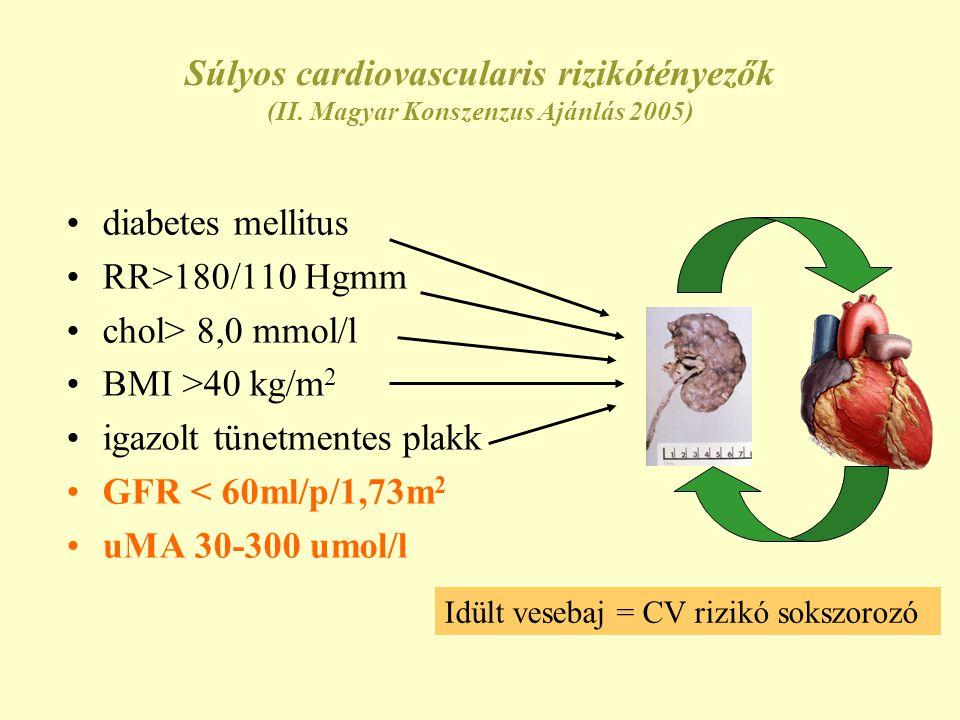 igazolt tünetmentes plakk GFR < 60ml/p/1,73m2 uMA 30-300 umol/l