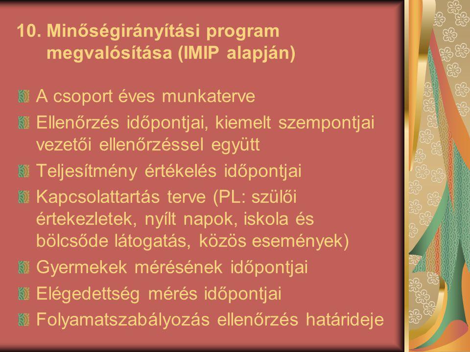 10. Minőségirányítási program megvalósítása (IMIP alapján)