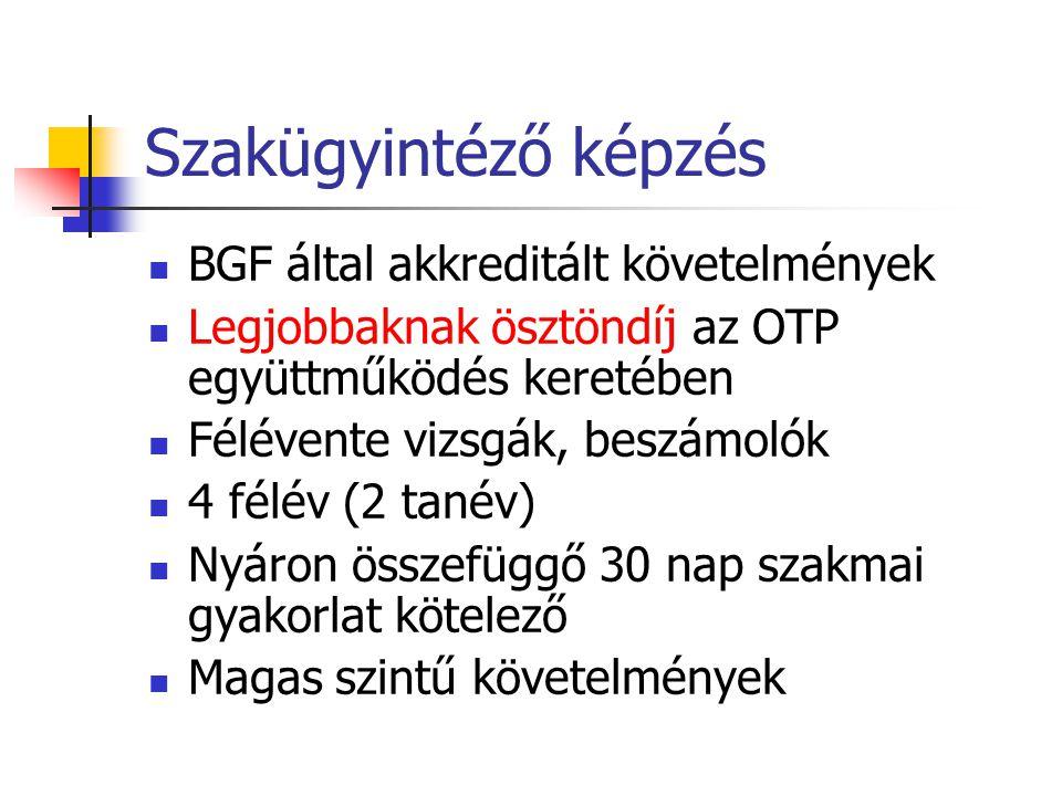 Szakügyintéző képzés BGF által akkreditált követelmények