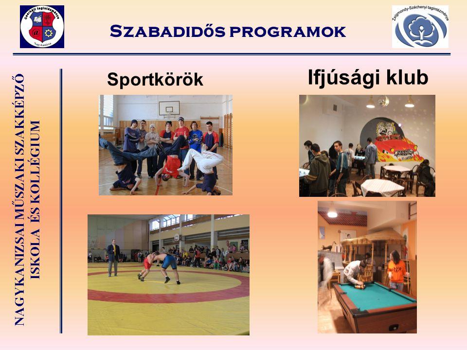 Szabadidős programok Ifjúsági klub Sportkörök