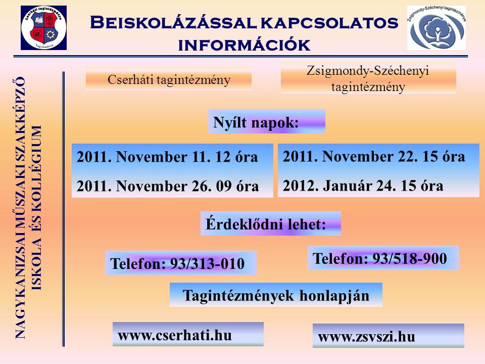 Beiskolázással kapcsolatos információk Tagintézmények honlapján