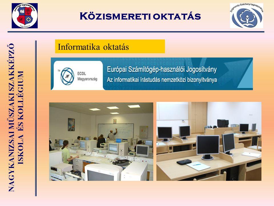 Közismereti oktatás Informatika oktatás
