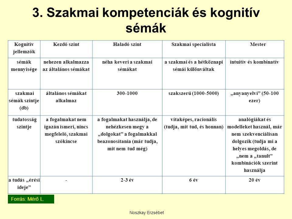 3. Szakmai kompetenciák és kognitív sémák