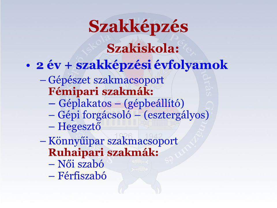 Szakképzés Szakiskola: 2 év + szakképzési évfolyamok
