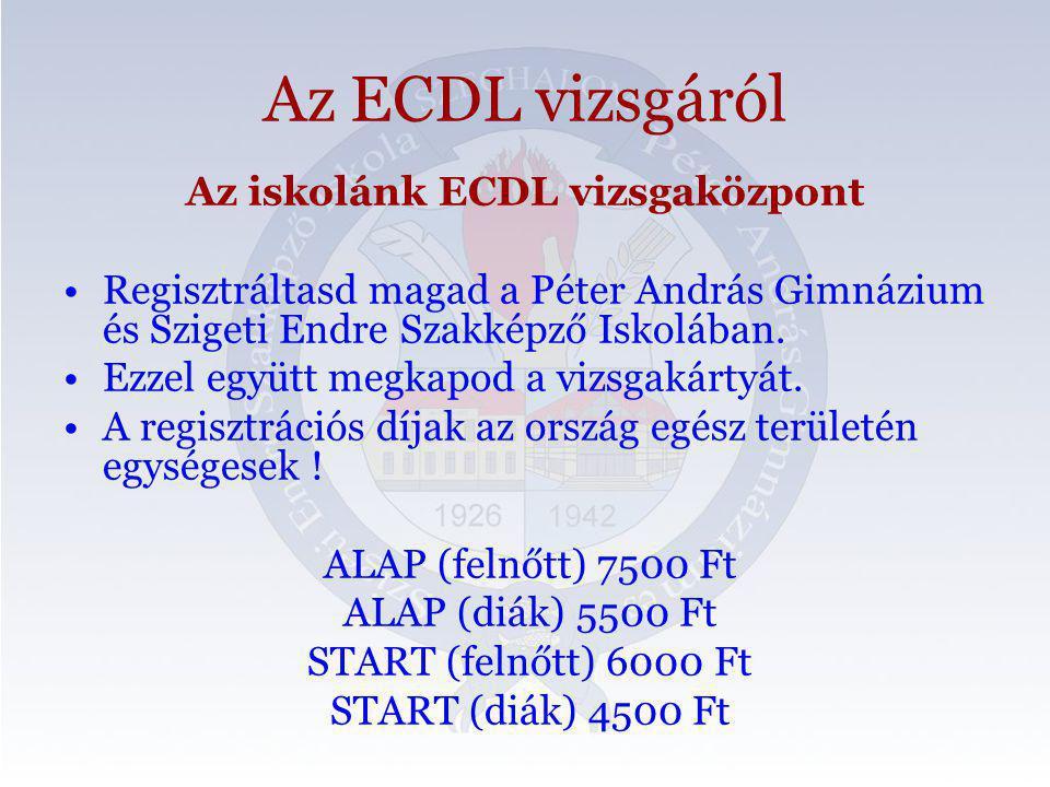 Az iskolánk ECDL vizsgaközpont