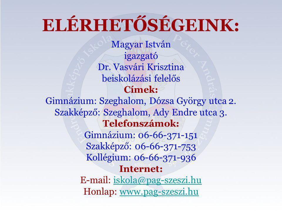 ELÉRHETŐSÉGEINK: Magyar István igazgató Dr. Vasvári Krisztina
