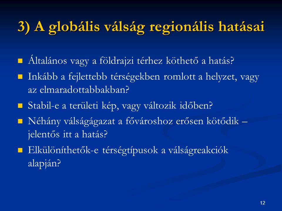 3) A globális válság regionális hatásai
