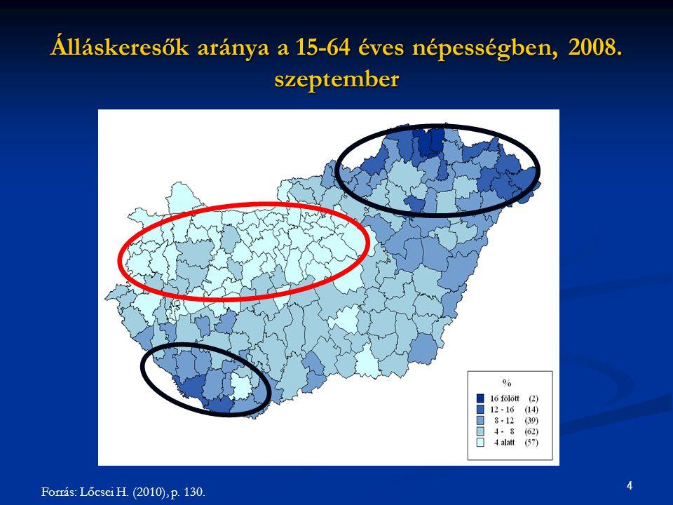 Álláskeresők aránya a 15-64 éves népességben, 2008. szeptember