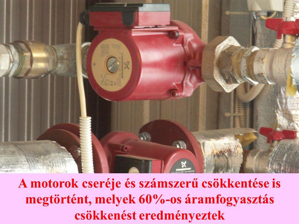 A motorok cseréje és számszerű csökkentése is megtörtént, melyek 60%-os áramfogyasztás csökkenést eredményeztek