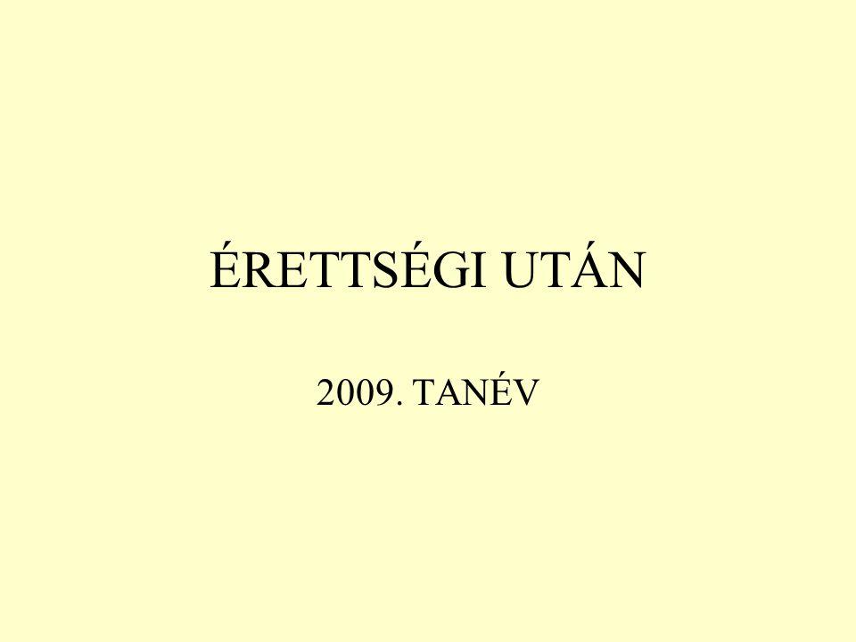 ÉRETTSÉGI UTÁN 2009. TANÉV