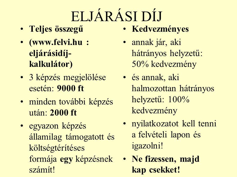 ELJÁRÁSI DÍJ Teljes összegű (www.felvi.hu : eljárásidíj-kalkulátor)