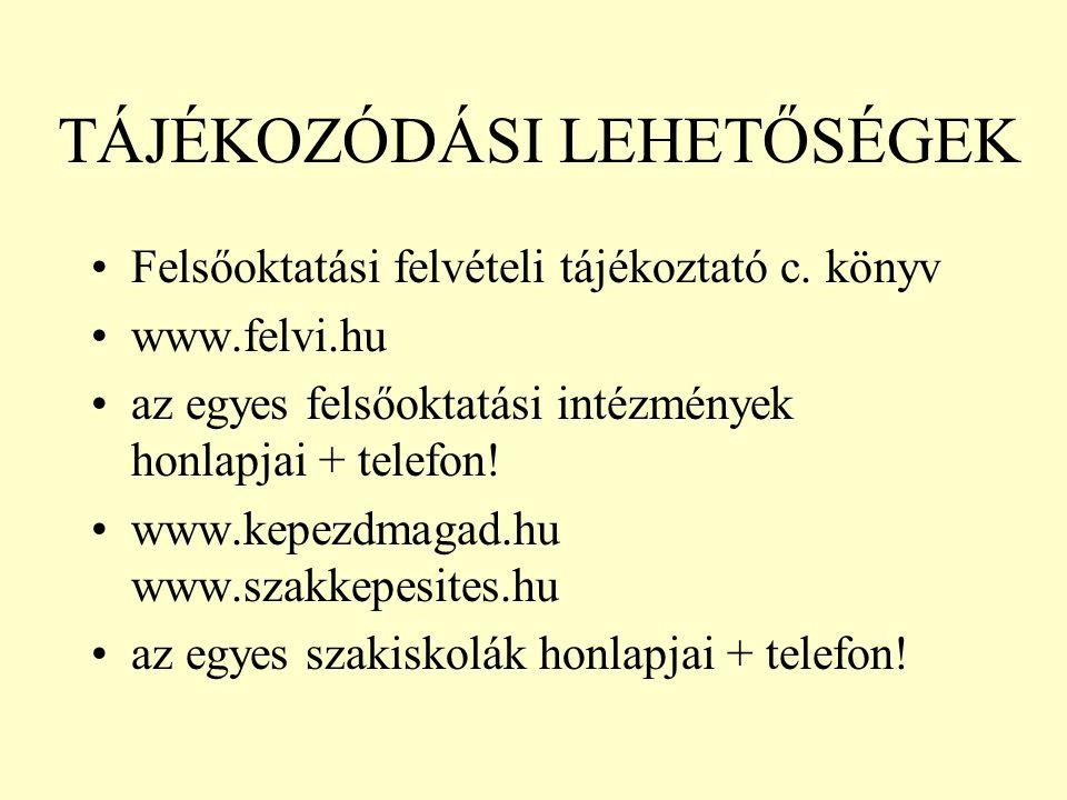 TÁJÉKOZÓDÁSI LEHETŐSÉGEK