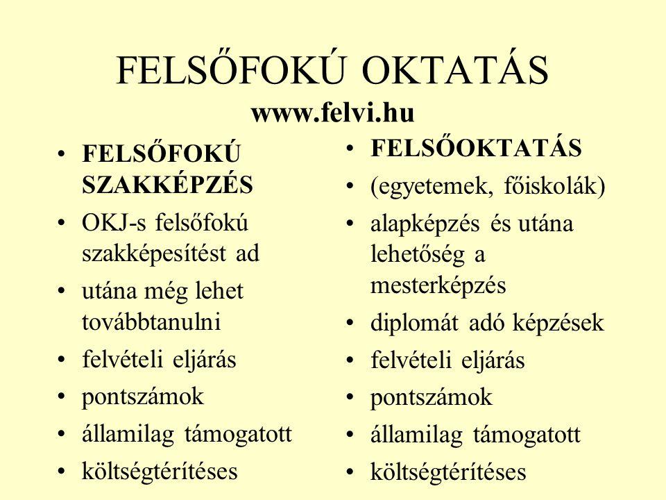 FELSŐFOKÚ OKTATÁS www.felvi.hu