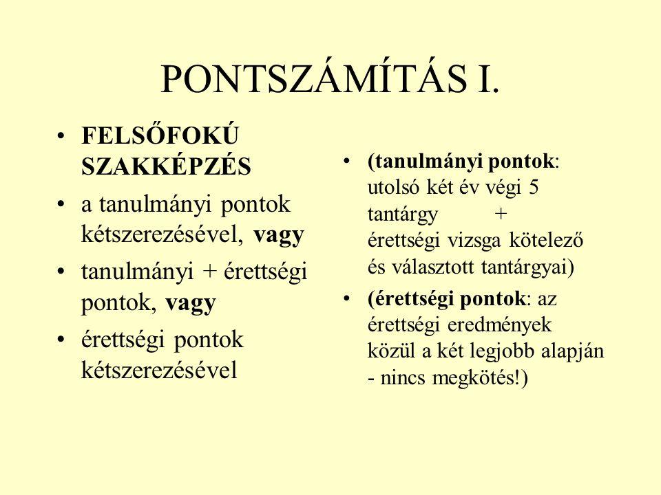 PONTSZÁMÍTÁS I. FELSŐFOKÚ SZAKKÉPZÉS