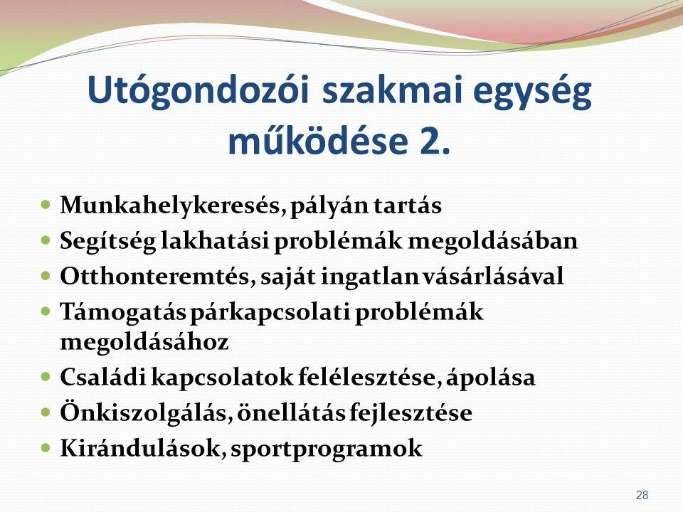 Utógondozói szakmai egység működése 2.