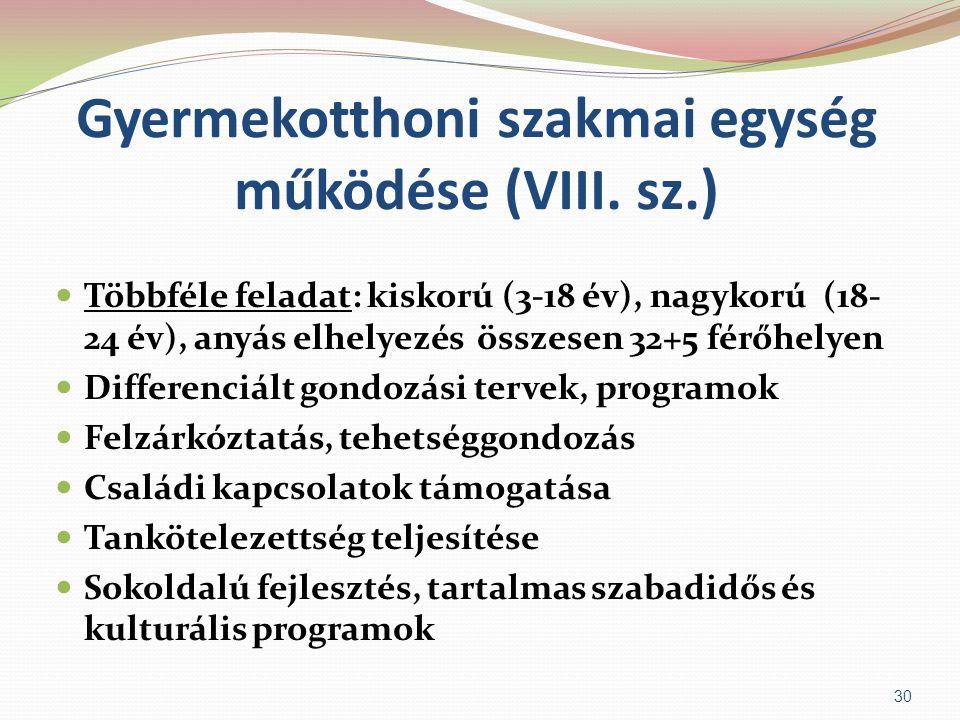Gyermekotthoni szakmai egység működése (VIII. sz.)