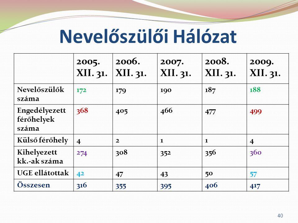 Nevelőszülői Hálózat 2005. XII. 31. 2006. XII. 31. 2007. XII. 31.