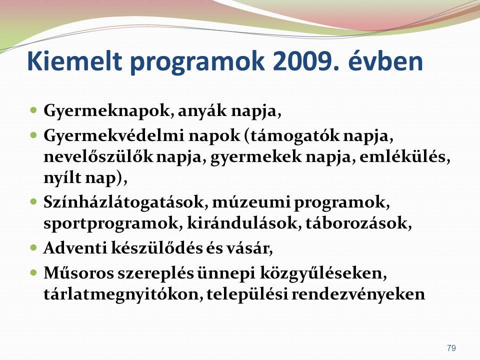 Kiemelt programok 2009. évben