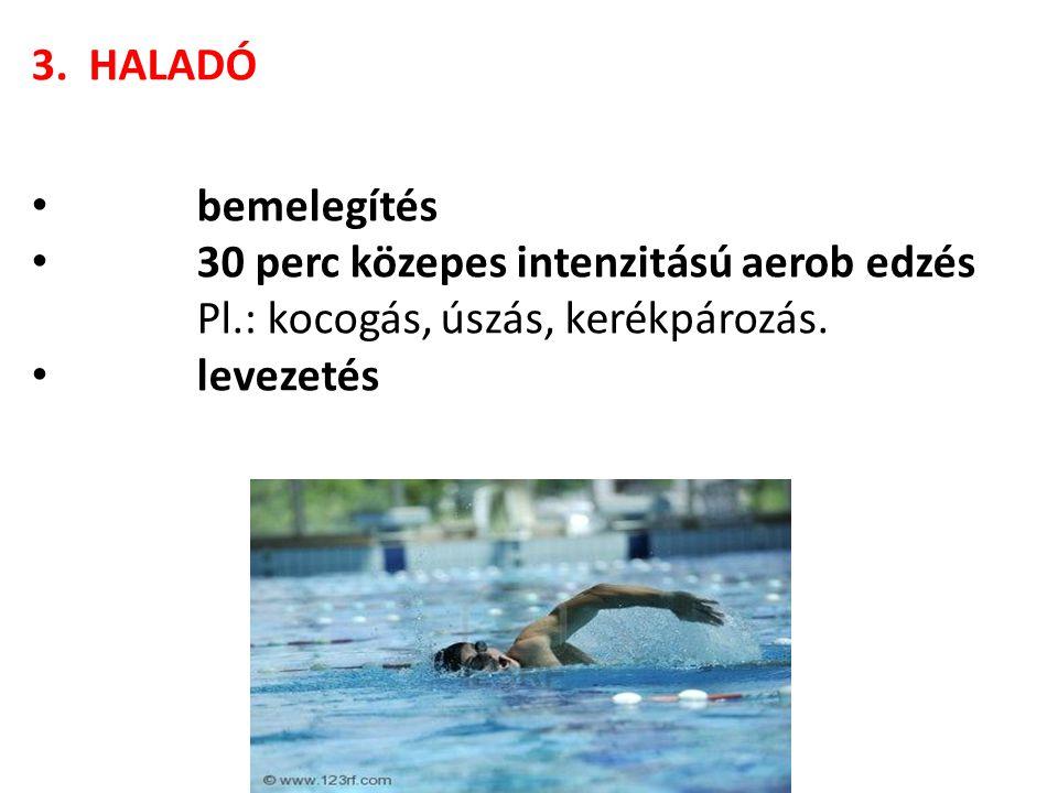 3. HALADÓ bemelegítés. 30 perc közepes intenzitású aerob edzés. Pl.: kocogás, úszás, kerékpározás.