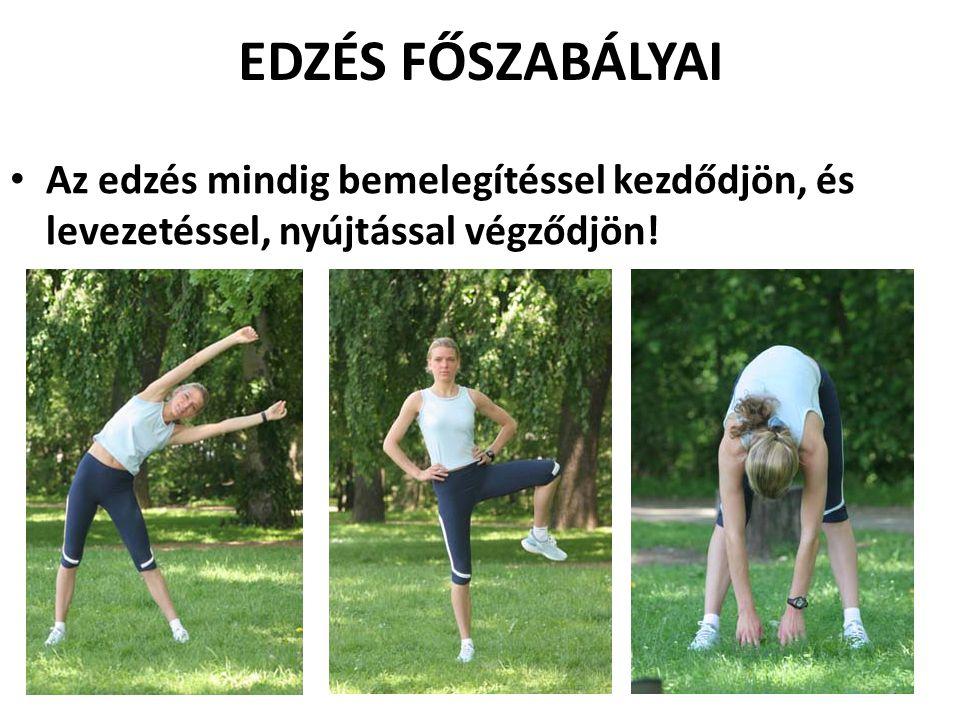 EDZÉS FŐSZABÁLYAI Az edzés mindig bemelegítéssel kezdődjön, és levezetéssel, nyújtással végződjön!