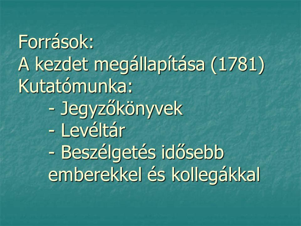 Források: A kezdet megállapítása (1781) Kutatómunka:. - Jegyzőkönyvek