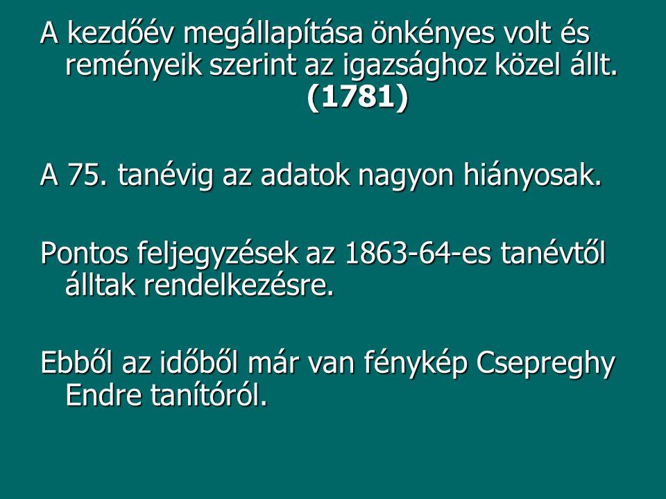 A kezdőév megállapítása önkényes volt és reményeik szerint az igazsághoz közel állt. (1781)